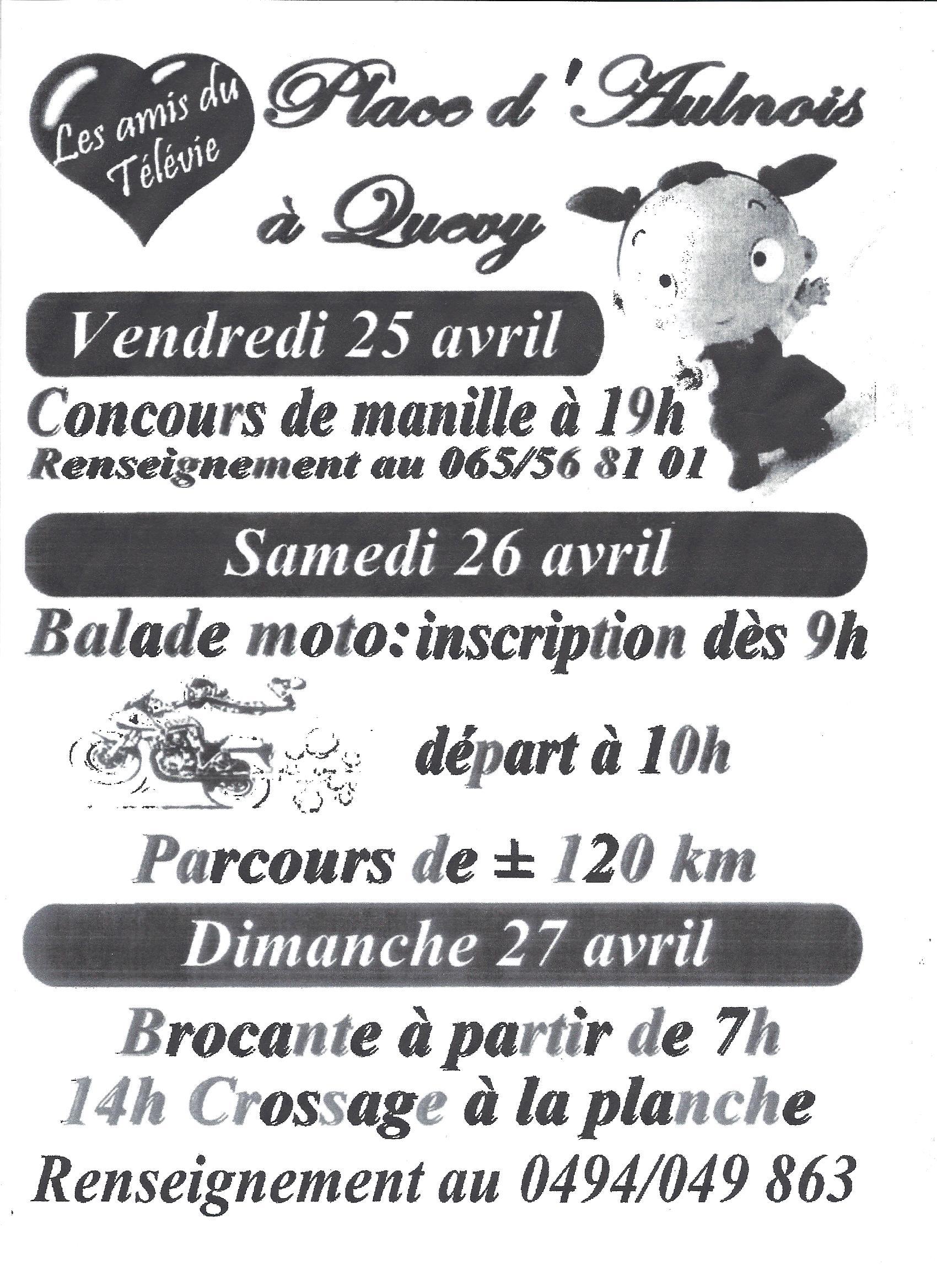 Balade Motos Télévie Aulnois 26 avril 2014